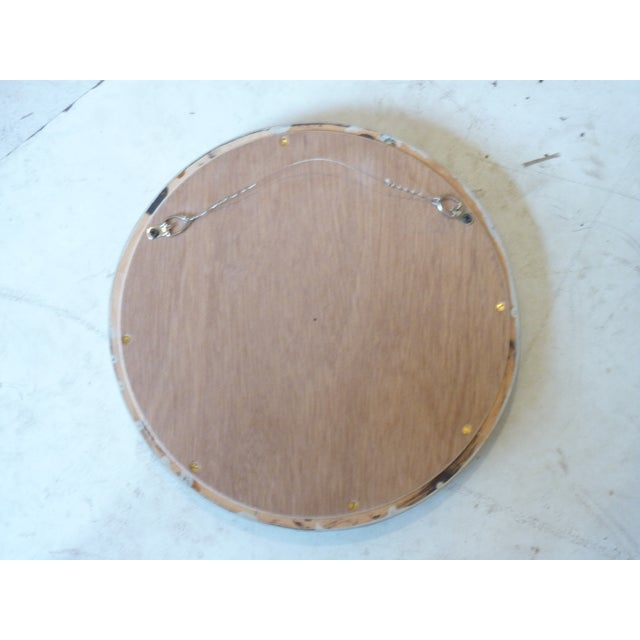 Late 20th Century Heraldic Etched Round Mirror For Sale - Image 5 of 6