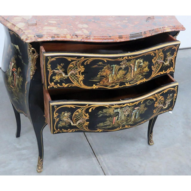 Black Louis XV Style Chinoiserie Marble Top Bombe Commode For Sale - Image 8 of 10
