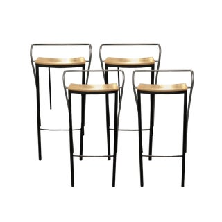 Postmodern Iron and Oak Bar Stools - Set of 4 For Sale