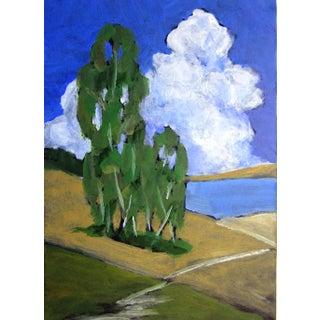 California Pacific Ocean Eucalyptus Hills Plein Air Landscape Painting For Sale