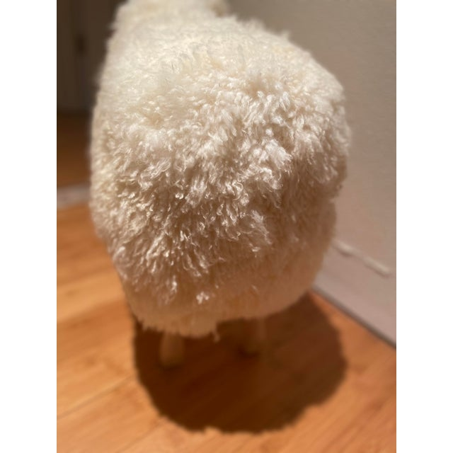 Vintage Lalanne Style Carved Wood Sheep in beech wood with natural sheepskin and leather ears
