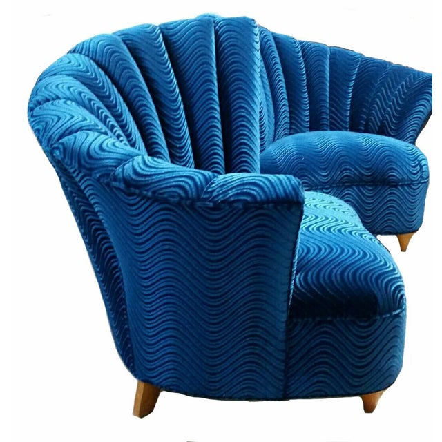 Hollywood Regency Asymmetrical Blue Velvet Chairs - A Pair - Image 2 of 3