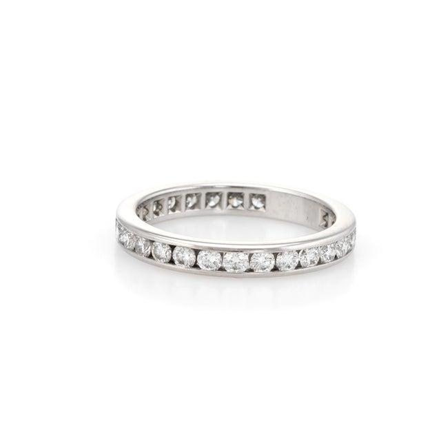 Modern Estate Tiffany & Co. 1 Carat Diamond Wedding Band Platinum Wide Ring For Sale - Image 3 of 6