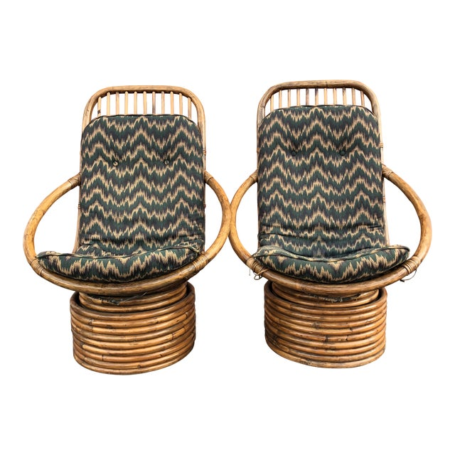 1960s Anglo-Indian Rattan Swivel Lounge Chairs - a Pair For Sale