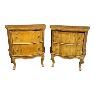 Italian Olivewood Serpentine Nightstands- a Pair For Sale