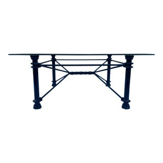1980s Mid-Century Modern Square Wrought Iron Base Beveled Glass Top Coffee Table For Sale