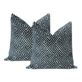 "22"" Navy Blue Roman Cut Velvet Pillows - a Pair For Sale"
