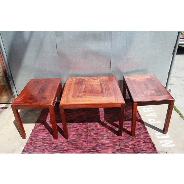 1960s Danish Rosewood Coffee & End Tables - Set of 3 - Image 3 of 10