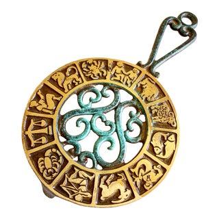 Midcentury Astrological Brass Zodiac Trivet or Hotplate For Sale