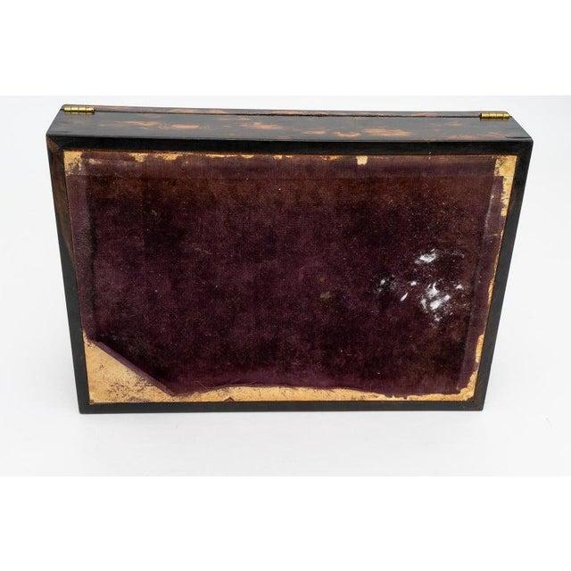 Gold 1880s Edwardian Brass & Wood Traveling Lap Desk with Original Key For Sale - Image 8 of 13