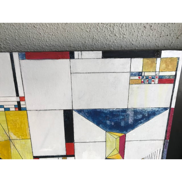 Abstract James McCray, 1945 Abstract Geometric San Francisco Museum of Art Exhibition Tag For Sale - Image 3 of 11