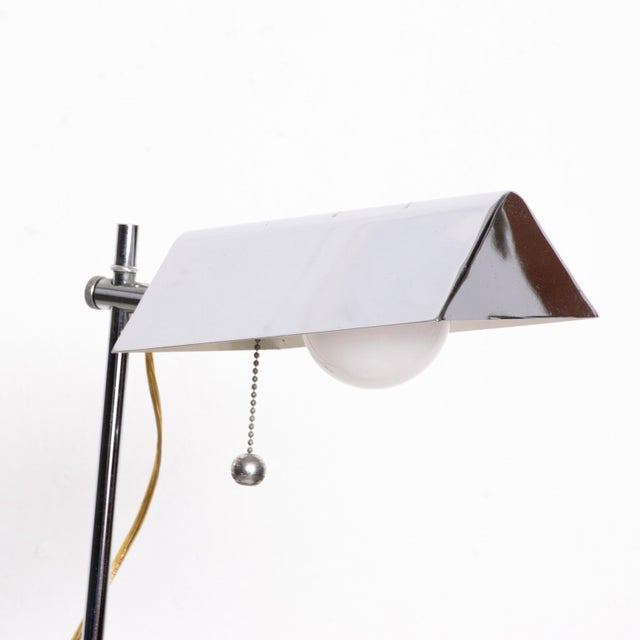Silver Mid-Century Modern Chrome Reading Floor Lamp After Koch Lowy For Sale - Image 8 of 10