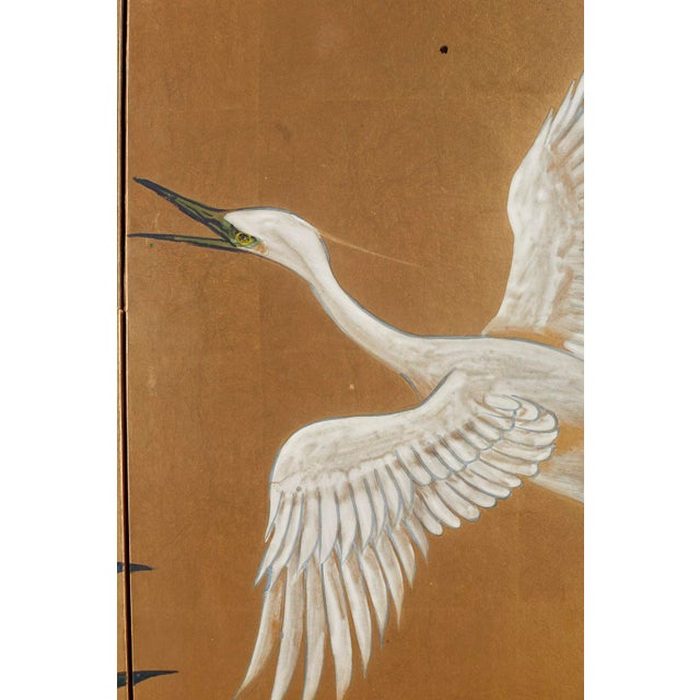 Japanese Six-Panel Meiji Screen of Egrets on Gold Leaf For Sale In San Francisco - Image 6 of 13