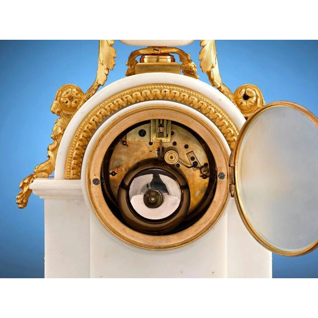 American Classical Marble and Doré Bronze Mantel Clock For Sale - Image 3 of 5
