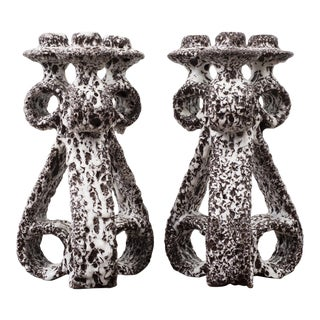 Pair of Marius Giuge Candlesticks for Vallauris, France, 1960s