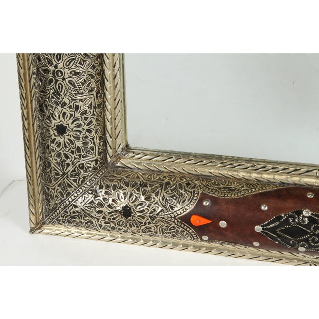Islamic Pair of Moroccan Mirrors With Silvered Metal and Leather Wrapped For Sale - Image 3 of 10