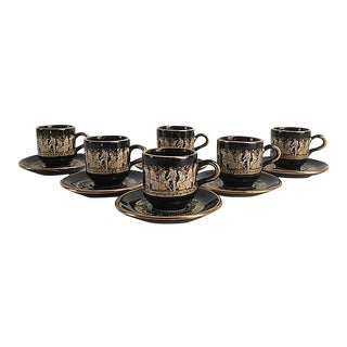Vintage 24k Gold & Black Neoclassical Style Demitasse Mugs - Service for 6 For Sale
