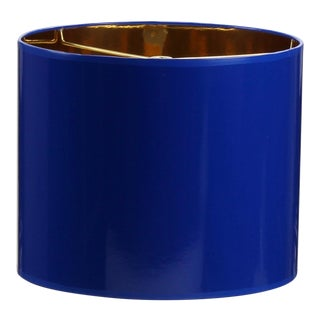 Large Cobalt Blue Drum Lamp Shade With Gold Lining For Sale