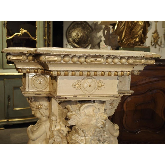 Antique Painted Napoleon III Wall Console Pedestal, Circa 1860 For Sale - Image 10 of 13