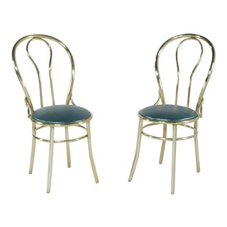 1940s Vintage Brass Parisian Cafe Bistro Chairs- A Pair For Sale