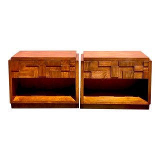 1970s Brutalist Lane Mosaics Nightstands - a Pair For Sale