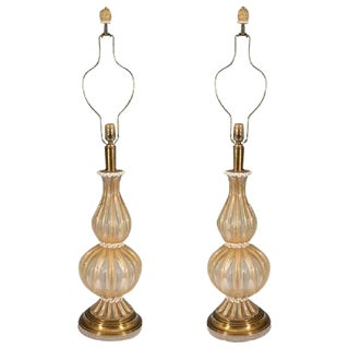 BEAUTIFUL PAIR OF BAROVIER & TOSO MURANO GLASS TABLE LAMPS WITH GOLD INCLUSIONS For Sale