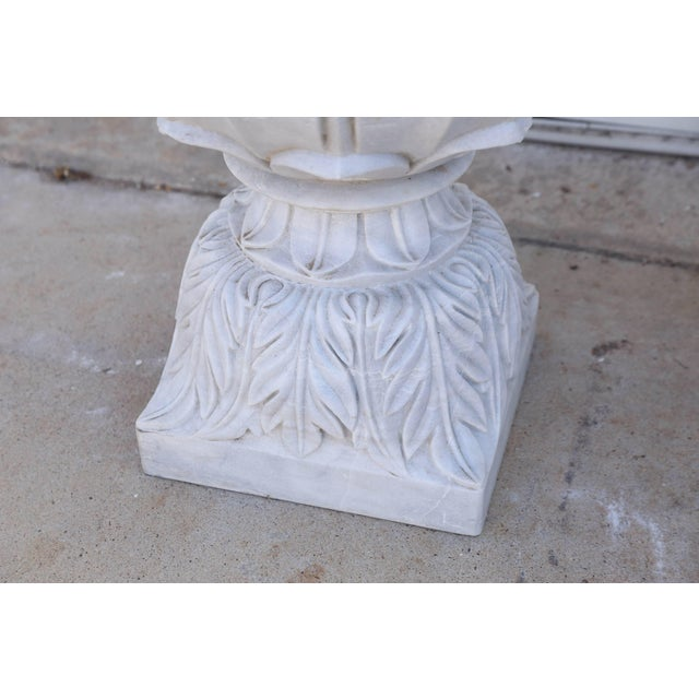 Vintage Mid Century Hand-Carved Two-Part Pure Marble Garden Vases- A Pair For Sale - Image 4 of 11