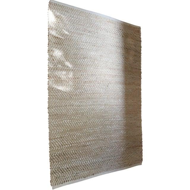Silver Metallic Woven Sisal Rug - 4′2″ × 6′ - Image 1 of 7