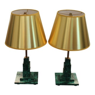 Square Malachite Table Lamps With Gold Lampshades - a Pair For Sale