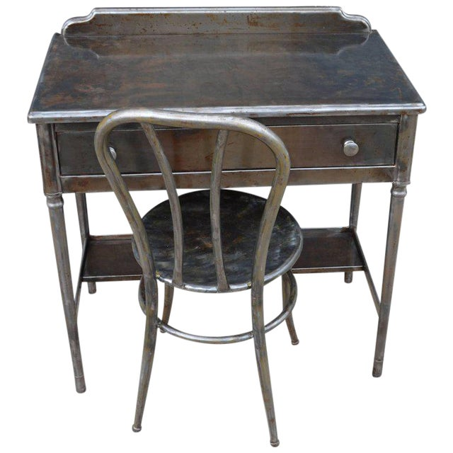 Mid-Century Simmons Steel Desk with Steel Chair Labelled Physicians' Nurses' For Sale