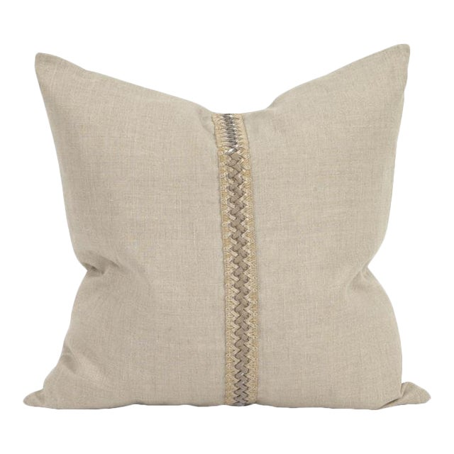 "Kenneth Ludwig Chicago Prairie Linen 20"" Pillow With Deco Trim For Sale"