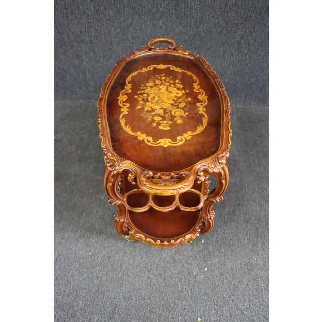 Brown Italian Style Carved and Inlaid Bar Cart For Sale - Image 8 of 9