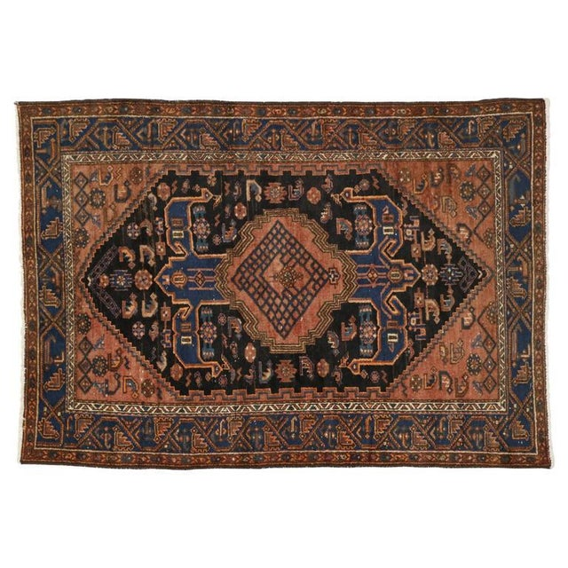Antique Persian Hamadan Rug with Modern Tribal Style For Sale In Dallas - Image 6 of 7