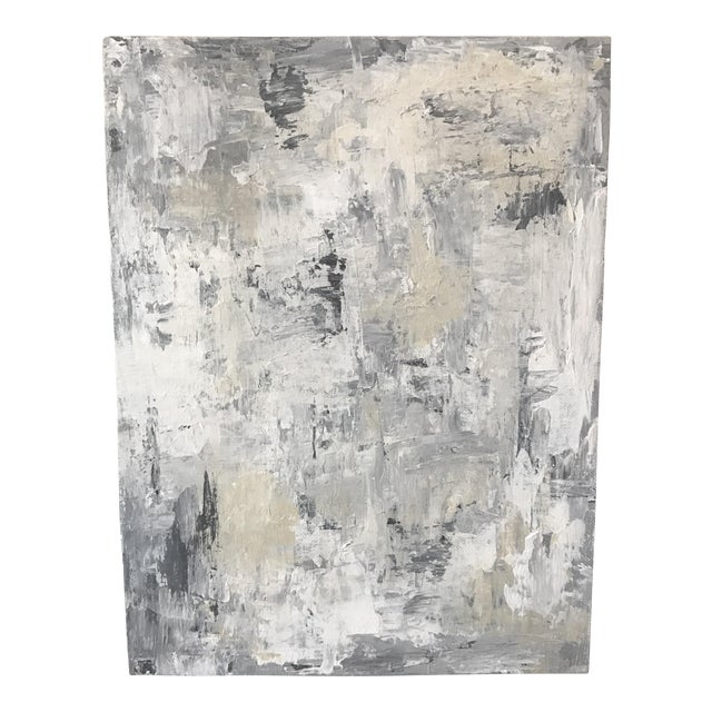 Neutral Grey White Blue Original Abstract Painting For Sale