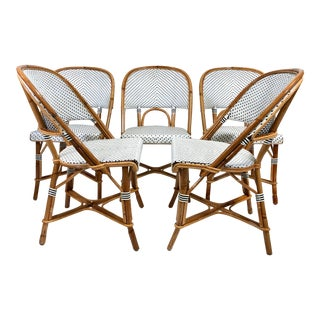 Maillot French Bistro Woven Bamboo Rattan Chairs—Set of 5 For Sale