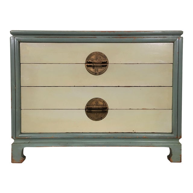 Asian Inspired Mid-Century Modern Solid Wood Bachelor Chest of Drawers For Sale
