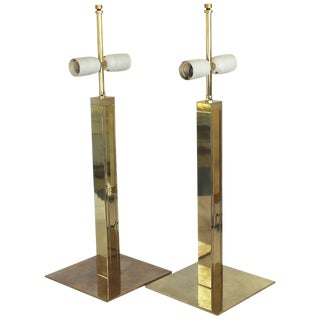 Pair of Modern Brass Table Lamps For Sale