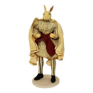 Wooden White Prince Rabbit Doll Figurine With Paper Cape For Sale