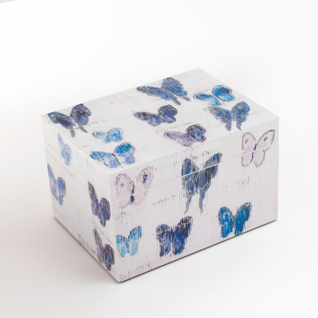 Hunt's gorgeous blue butterflies adorn our new lacquered box set. Stack them on a cocktail table, desk or nightstand for a...