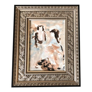 Original Vintage Expressionist Small Watercolor Painting 2 Figures Frame For Sale