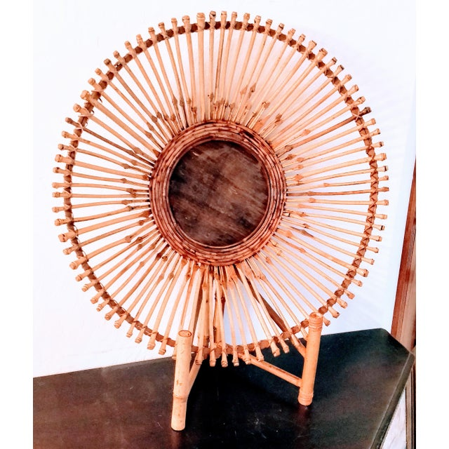 Mid 20th Century Mid-Century Modern Pencil Reed Bamboo Bowl Centerpiece For Sale - Image 5 of 11