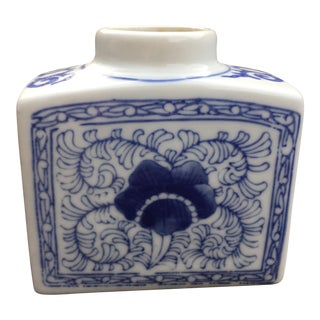 Vintage Chinoiserie Blue and White Hand-Painted Vase For Sale