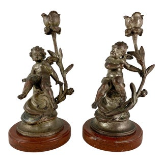 French Putti Cherub Metal & Marble Candlesticks Signed Sylvan Kinsburger, a Pair For Sale