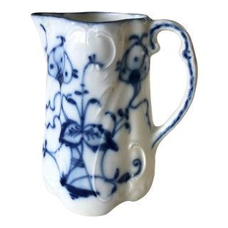Antique 1800s Meissen Flow Blue Cream Pitcher For Sale