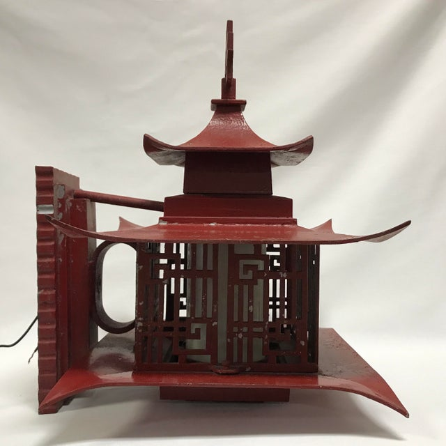 Metal Outdoor Pagoda Asian Sconce Light Fixtures Chinesse Lattice Pattern For Sale - Image 9 of 11