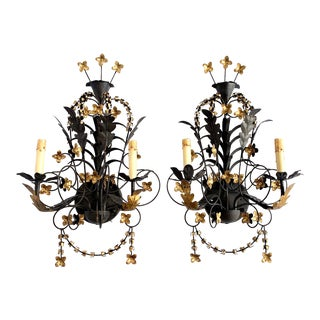 Currey and Company Metal Tole Floral Wall Sconces - a Pair For Sale