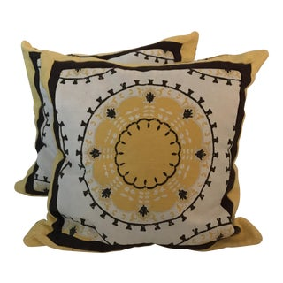 Yellow & Brown Linen Cotton Print Pillows - a Pair