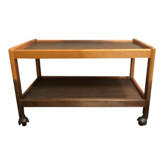 Vintage Multi-Toned Wooden Two Tier Rolling Cart For Sale