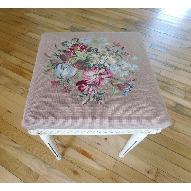 French Vintage Petit Point Floral Bench/Table For Sale - Image 3 of 13