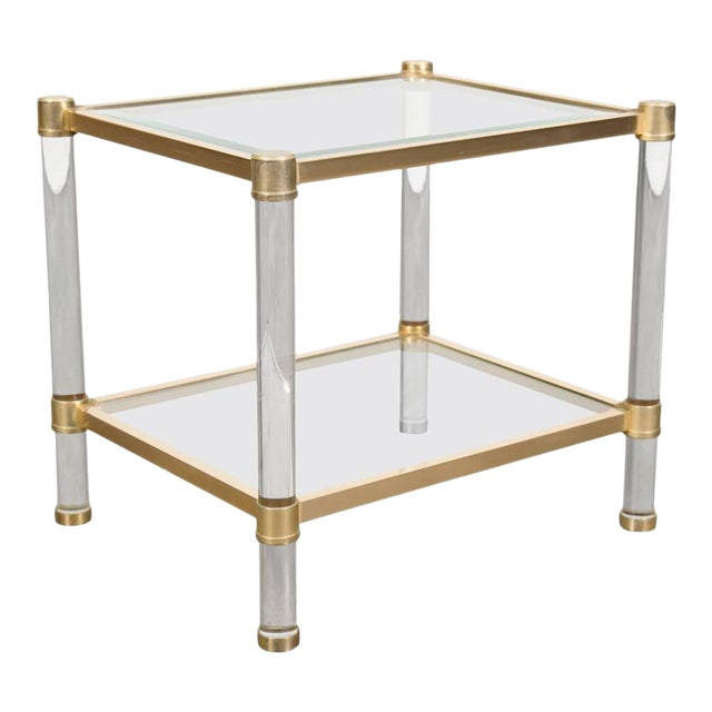French Rectangular Lucite and Brass Two Tier Side Table For Sale